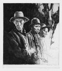 """Arthur R. Middleton Todd, etching, """"Strolling Players"""""""