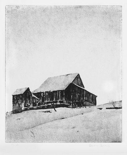 """Albert W. Barker, lithograph, """"Upper Barn, Winter"""""""