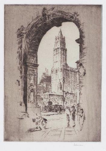 "Karl Dehmann, etching, ""Woolworth Building Through the Arch"""