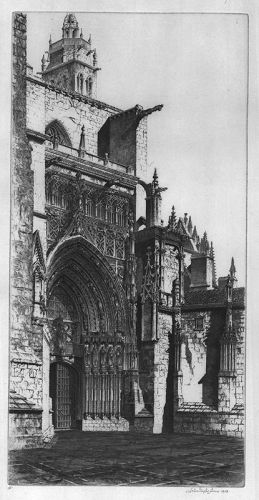 """John Taylor Arms, etching, """"Palencia Cathedral"""""""