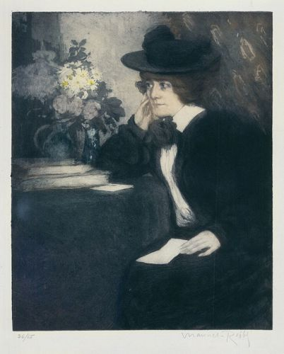 """Manuel Robbe, etching, """"Claudine"""""""
