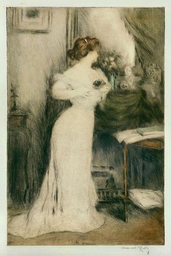 """Manuel Robbe, etching, """"Le Bouquet de Violettes"""""""