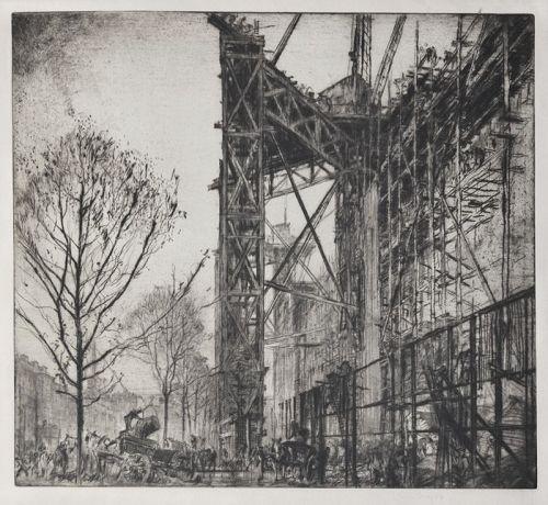 """Sir Frank Brangwyn, etching, """"Scaffolding, No. 1 (L`�chafaudage)"""""""