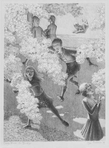 "Kyra Markham, lithograph, ""Cherry Bloom in Brooklyn, 1937"""