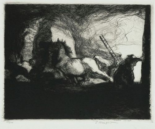 "Edmund Blampied, etching, ""Farm Fire"""