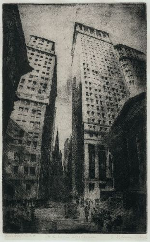Wall Street NYC  etching Gottlob Briem