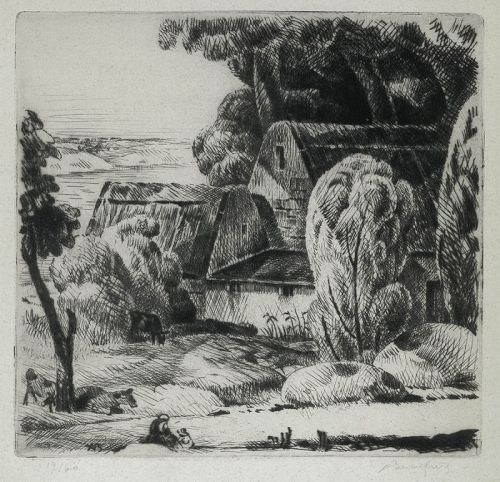 Cottages by the Stream, etching by Adolphe Beaufrere