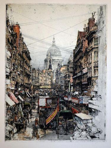 Luigi Kasimir etching, London,Fleetstreet