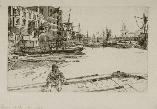 Whistler etching, Eagle Wharf 1859