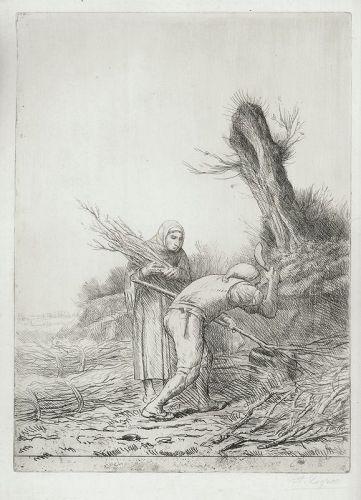 Alphonse Legros, large etching, Les Faiseurs de Fagots