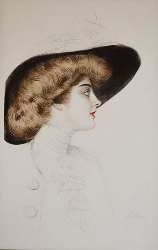 A striking Paul Helleu color drypoint etching,