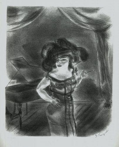 Yasuo Kuniyoshi, Burlesque Queen, lithograph