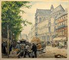 T.F. Simon etching, Les Halles Et L'Eglise, Paris