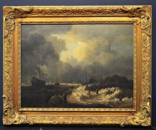 Jan I Peeters painting, Costal Strom, unsigned