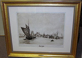 "Stephen Parrish etching, ""Port of Dieppe"" 1887"