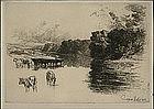 "Seymour Haden etching, ""A Lancashire River"" 1881"