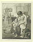 """William Lee Hankey etching, """"Difficult Times"""""""