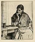 "William Lee Hankey etching, ""Meditation"""