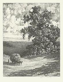 """Albert W. Barker, Lithograph, """"Grassland"""""""