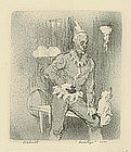 "Carl Pickhardt, Lithograph, ""Back Stage"""