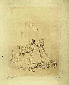 """Jean Louis Forain, """"L'Imploration Devant la Grotte,"""""""