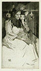 """William Lee Hankey, Etching, """"The Widow"""""""