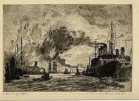 "Reinhardt, Etching, ""Hambourg Harbor"""