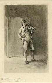 """Ingatz Marcel Gaugengigl, Etching, """"The Violinist"""""""