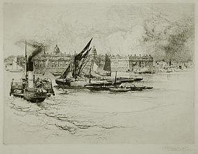 "Stephen Parrish, etching, ""Greenwich Hospital"""