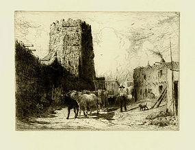 """Peter Moran, etching, """"Church of San Miguel, Santa Fe"""""""