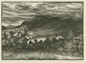 """Leo Meissner,  wood engraving, """"From Mountain Tops..."""""""