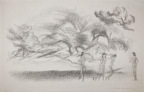 "Arthur Bowen Davies, lithograph, ""On Willow Brook"""