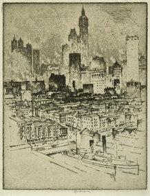 Joseph Pennell, etching, New York, from Brooklyn Bridge