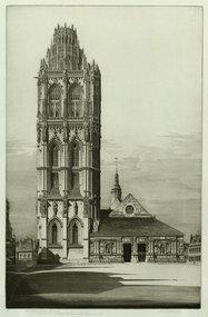 "John Taylor Arms, etching, ""Aspriation, La Madeleine"""