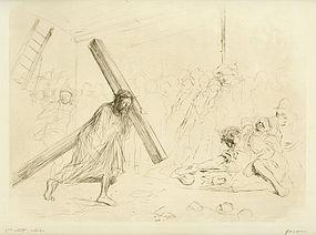 """Jean Louis Forain, etching, """"Le Christ Portant sa Croix"""