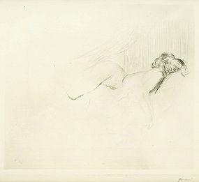 """Jean Louis Forain, etching, """"Croquis de Femme Nue"""""""