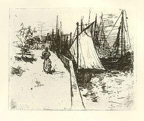 "John Henry Twachtman, etching, ""Women on the Quay"""