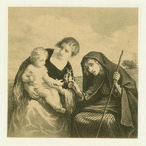 """William Morris Hunt, lithograph, """"Fortune Teller"""""""