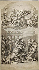 """Gerard Audran, engraving, """"The Martyrdom of St. Agnes"""""""