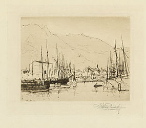 """Stephen Parrish, etching, """"Port of Nice"""""""
