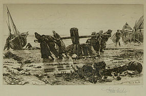 """Stephen Parrish, etching, """"Hauling by the Capstan"""""""