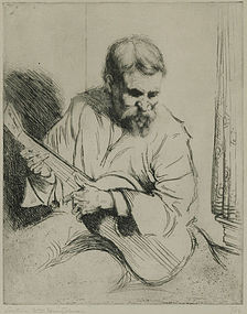 "Arthur Heintzelman, etching, ""Guitar Player"""