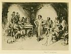 "Arthur Heintzelman, etching, ""Cafe Montmartrois"""