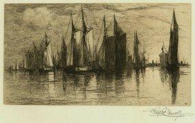 "Stephen Parrish, etching, ""Sunset, Gloucester Harbor"""