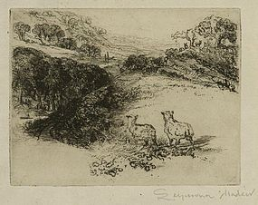 """Sir Francis Seymour Haden, etching, """"The Two Sheep"""""""