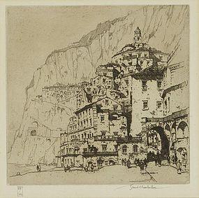 """Samuel Chamberlain, etching, """"Amalfi"""""""