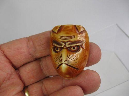 Japanese Mask Netsuke of a Fox, Signed