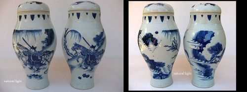 Chinese Pair of Rare Transitional Lidded Jars