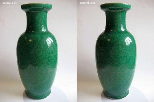 Chinese Porcelain Apple Green Crackle Vase