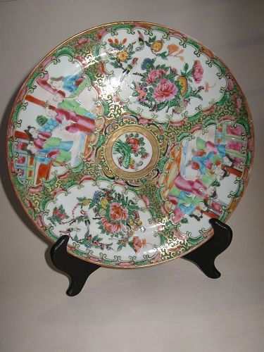 Chinese Cantonese Style Rose Medallion Plate